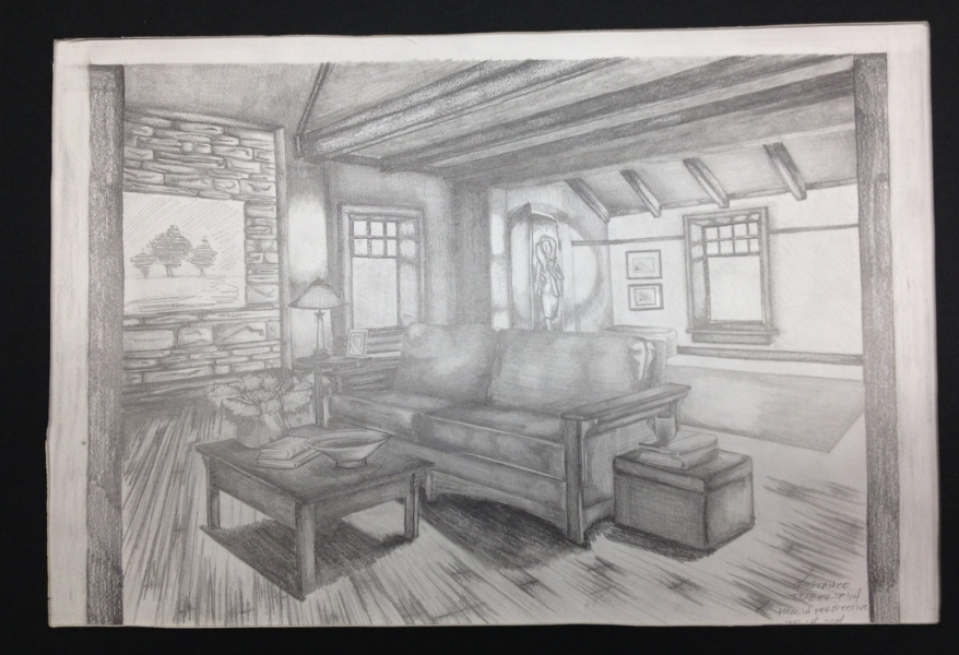 Perspective rendering in black-and-white