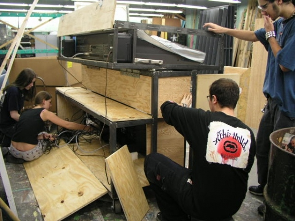 Students working on the new mixer cart